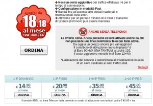 Soltanto Aruba ADSL permette di fare contratti a 3 mesi