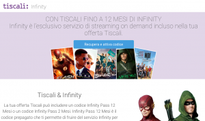 Infinity è l'esclusivo servizio di streaming on demand incluso nell'offerta di Tiscali Fibra Full