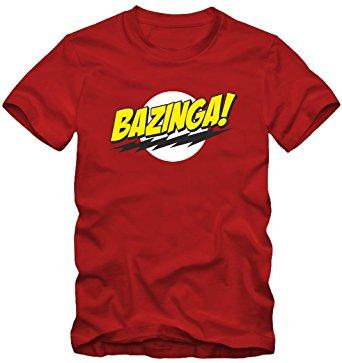 Maglietta commemorativa dell'esclamazione 'Bazinga!' tipica della serie The Big Bang Theory
