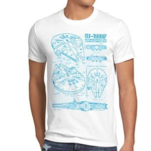 style3 cianografia Millennium Falcon T-shirt da uomo